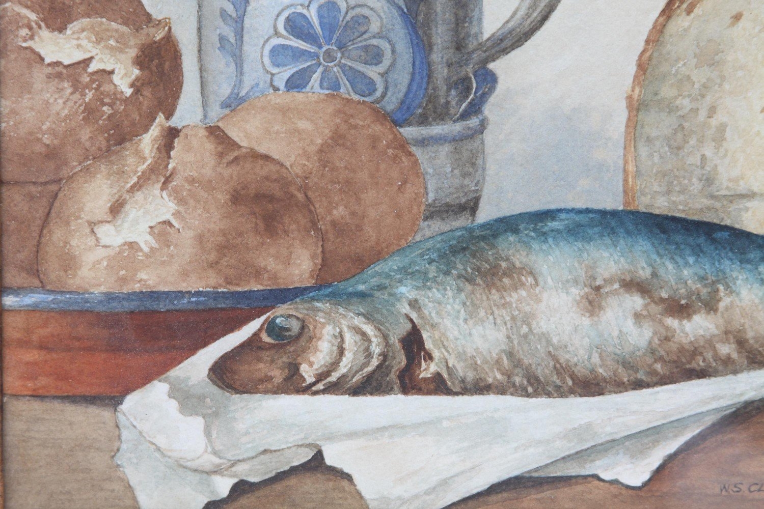 Still Life with Fish, Bread and German Stein by W. S. Clarence