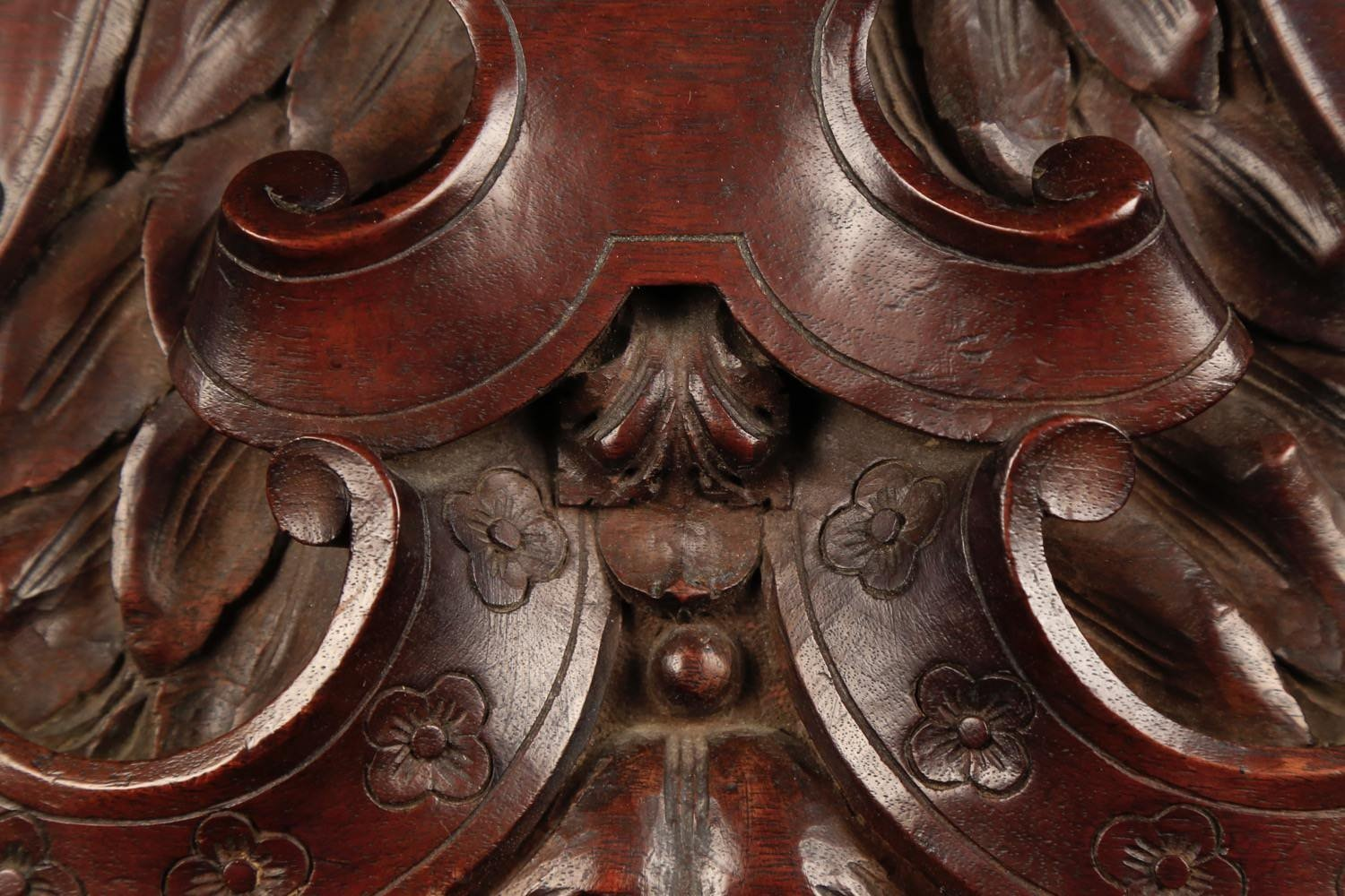 A French or Italian Carved Walnut Transom or Over Door Carving, 19thc.