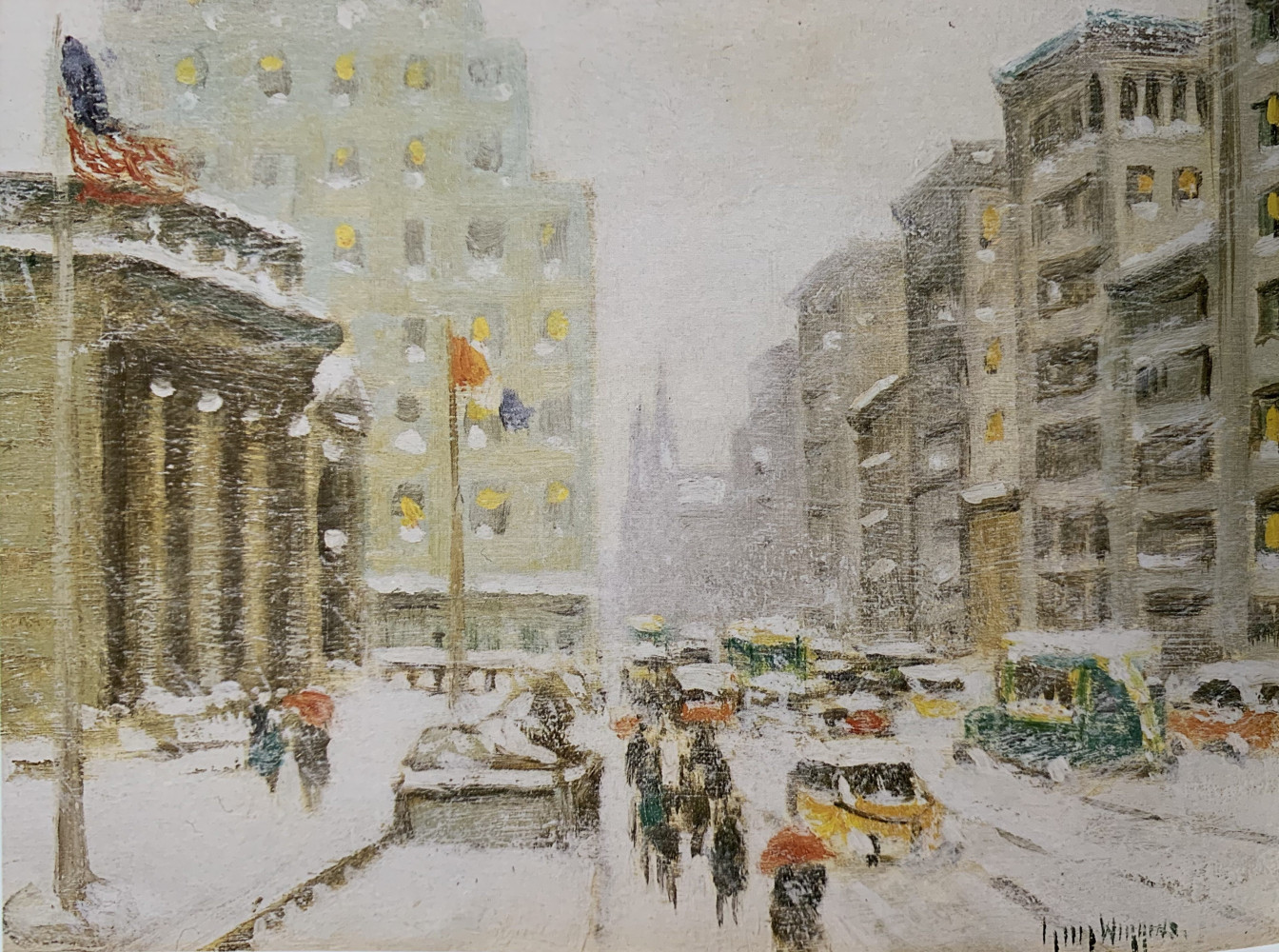 Fifth Avenue Winter at Library by Guy Carleton Wiggins