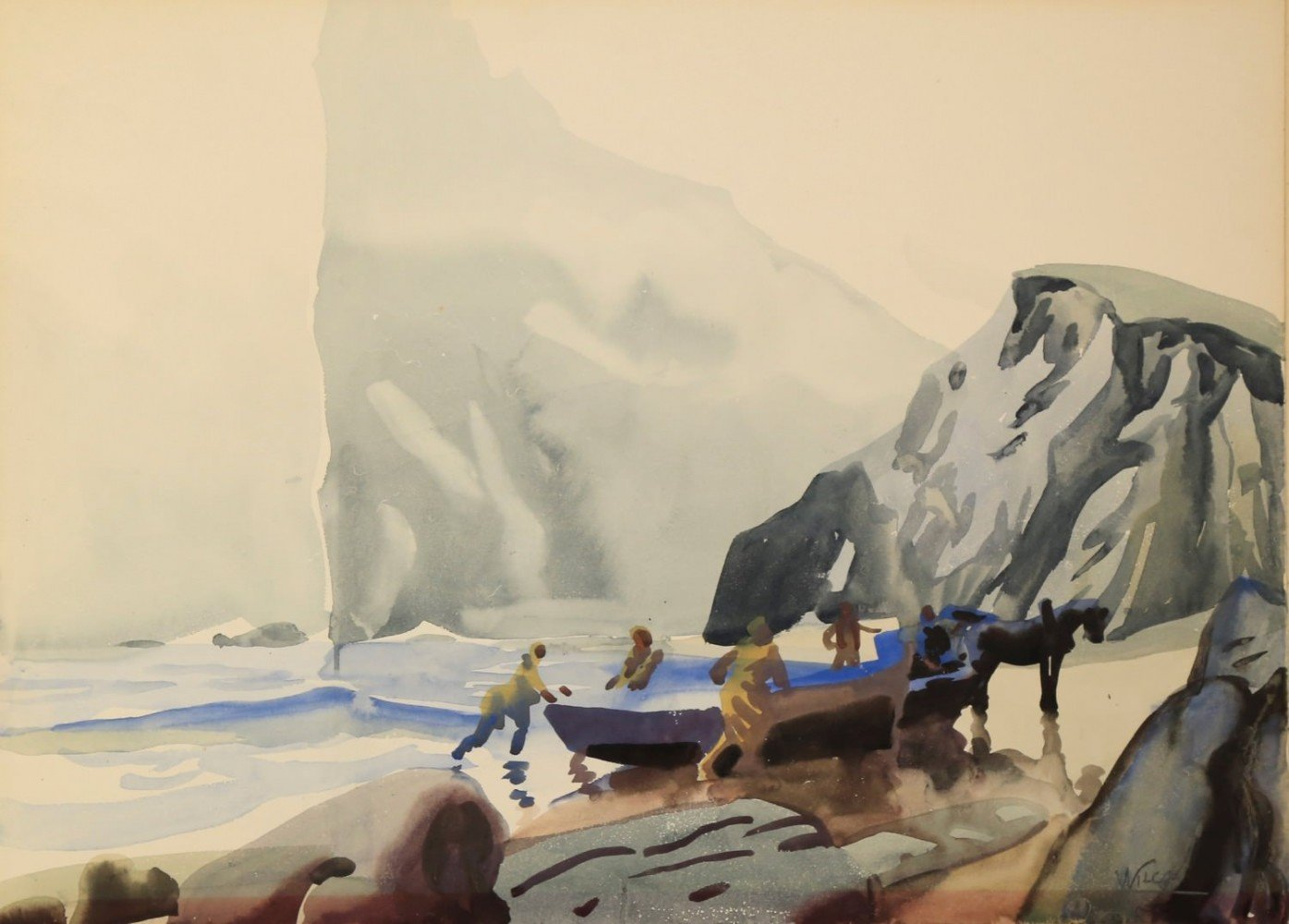 Pulling in the Boats by Percé Rock, Gaspé, Canada by Frank Nelson Wilcox