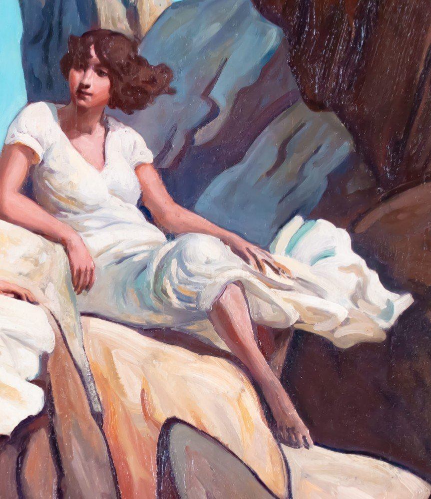 Three Girls on the Rocks (Sirens) by Frank Nelson Wilcox