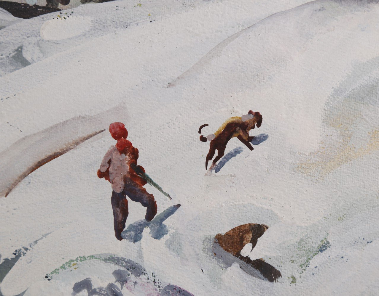 Landscape Watercolor and Gouache on Paper Painting: