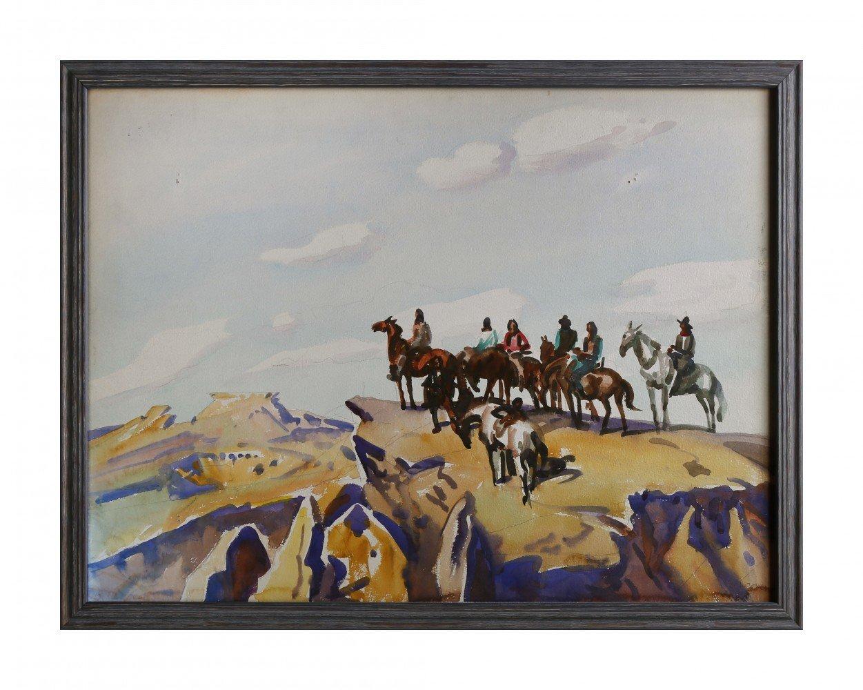 Landscape Watercolor and Graphite on Board: