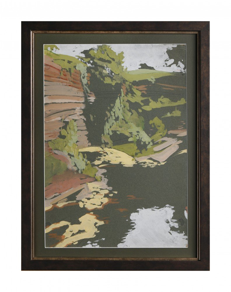Landscape Watercolor on Green Paper mounted on Board Painting: