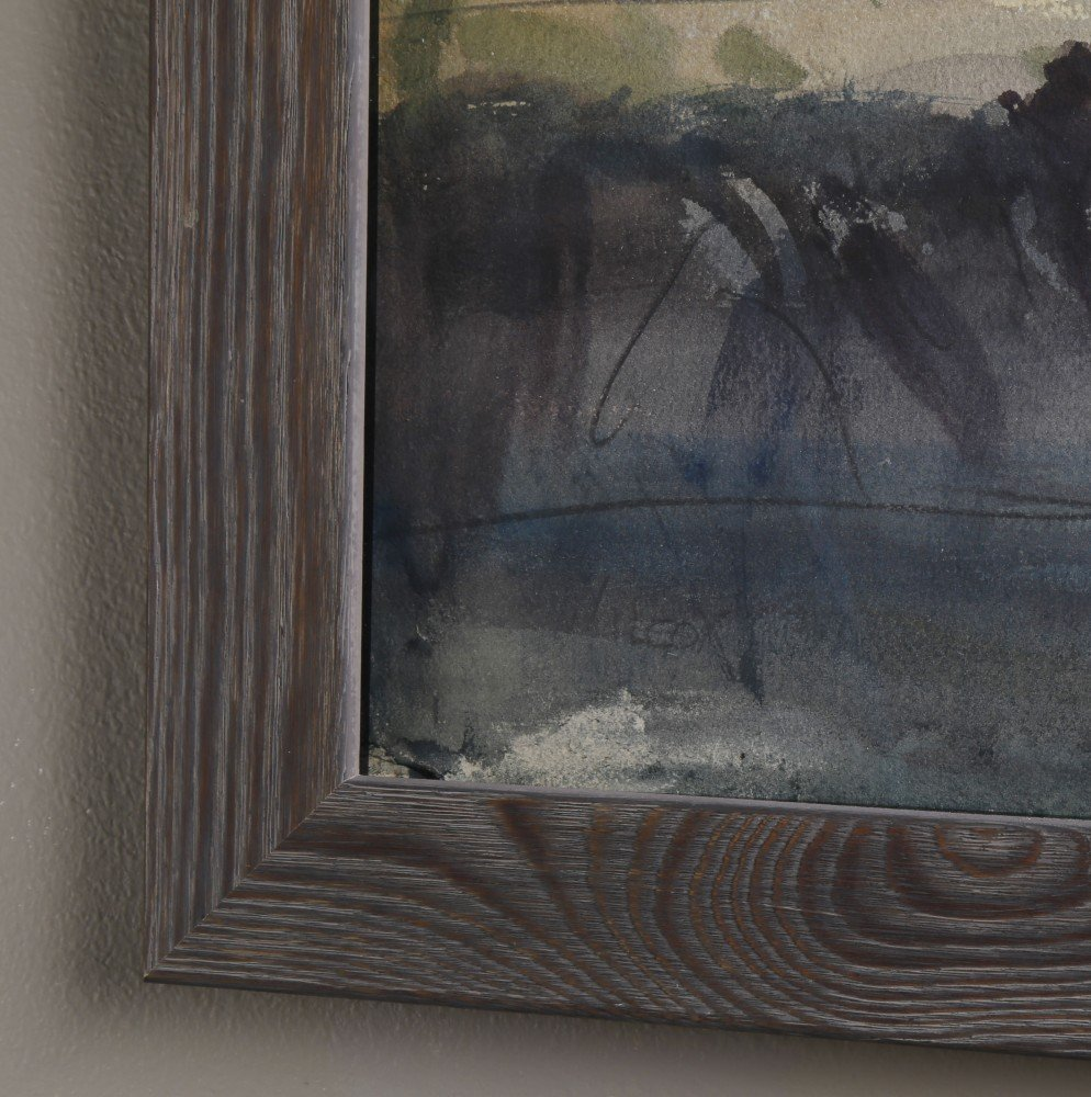 Landscape Watercolor and Graphite on Board Painting: