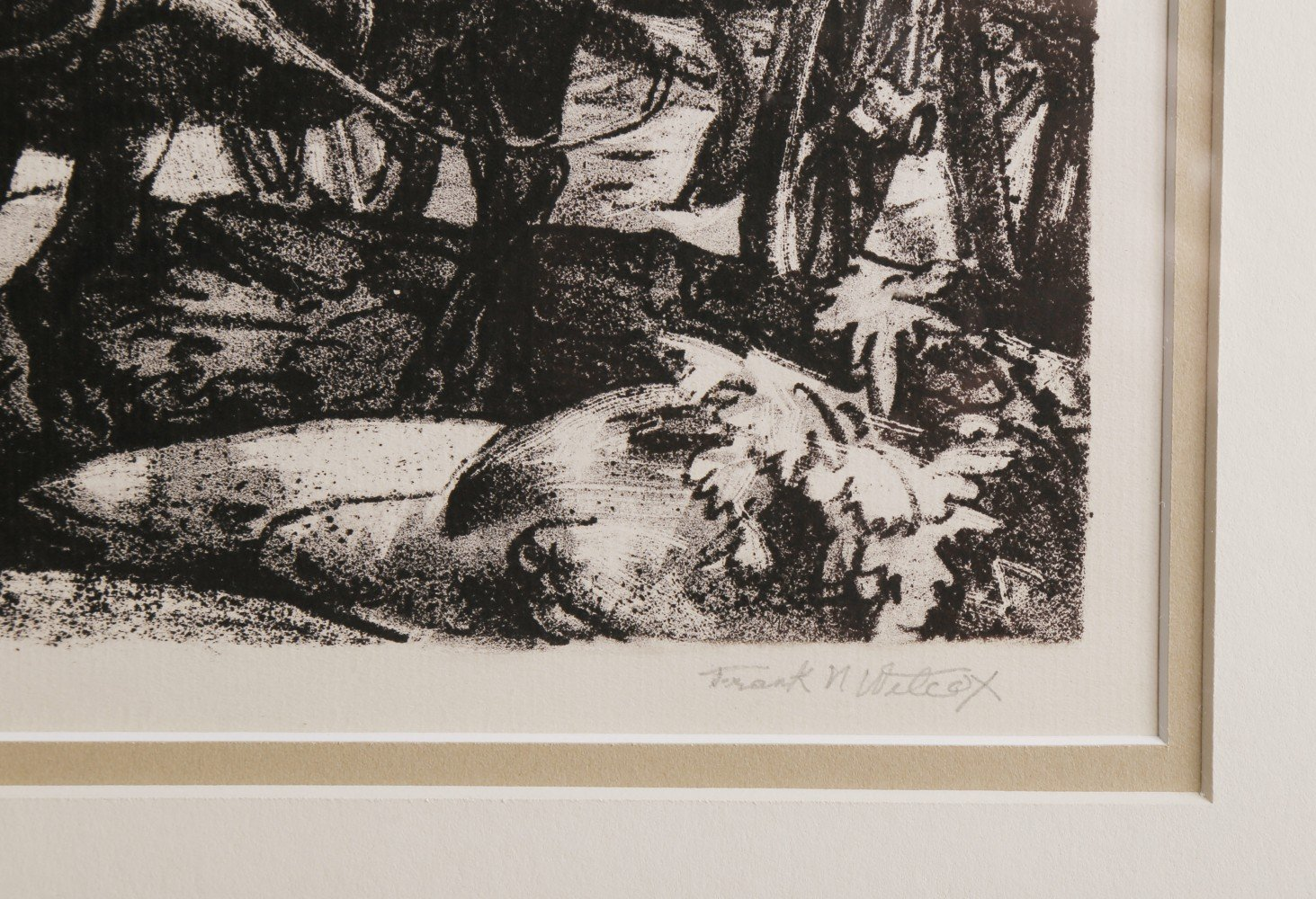 Landscape Figurative Lithograph on Paper Drawing: