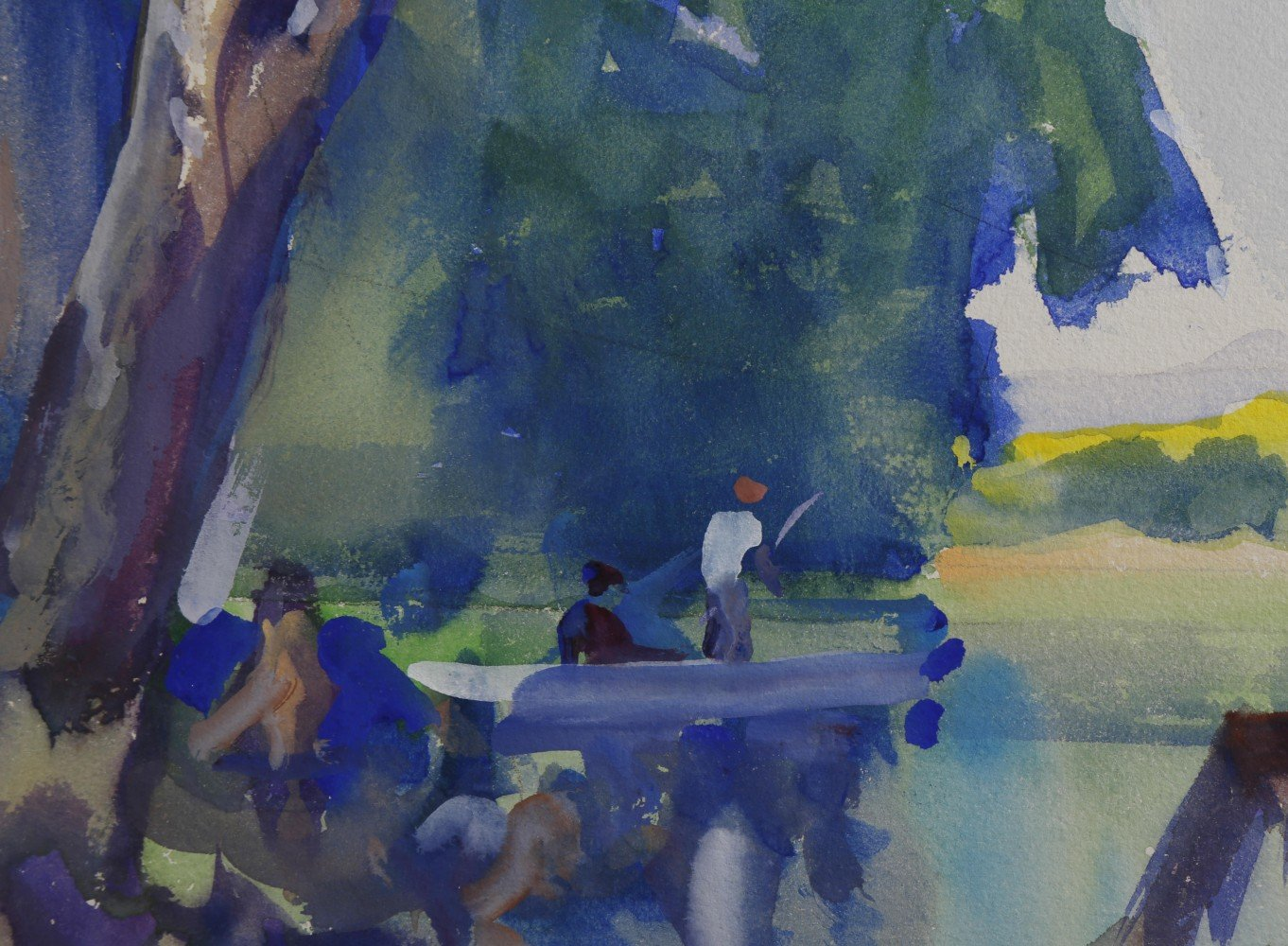 Landscape Watercolor and Gouache on Board Painting: