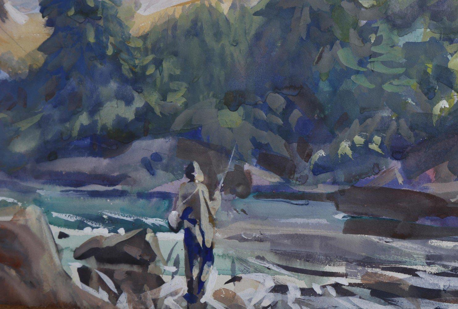Landscape Watercolor on Whatman Board Painting: