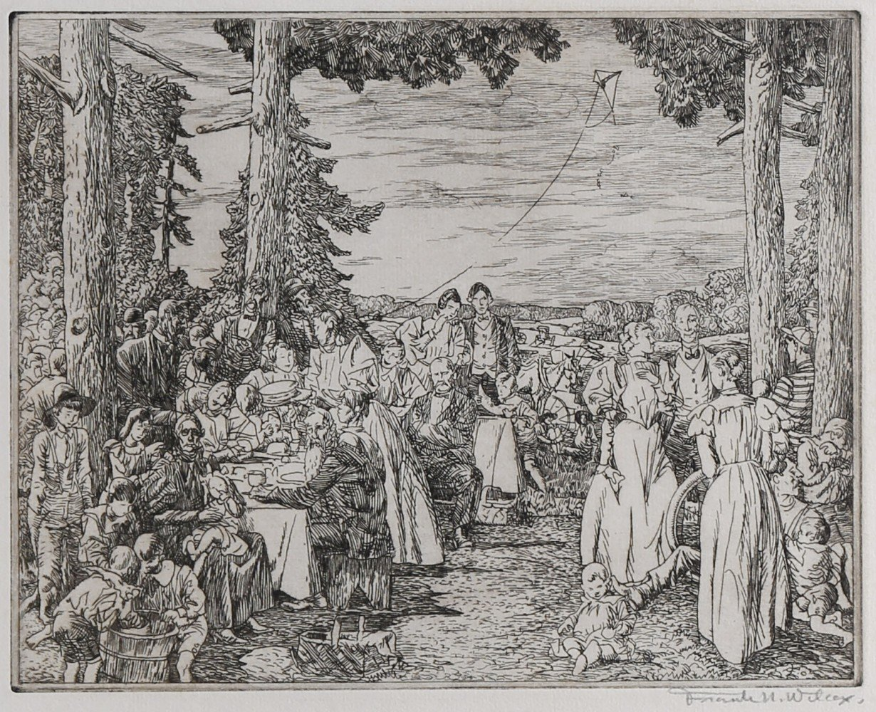 Figurative Etching on Paper Drawing: