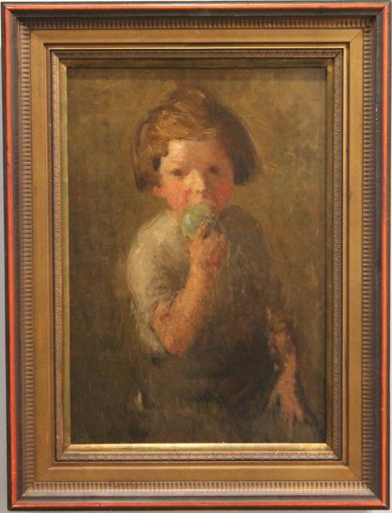 Boy Eating an Apple by William Sommer