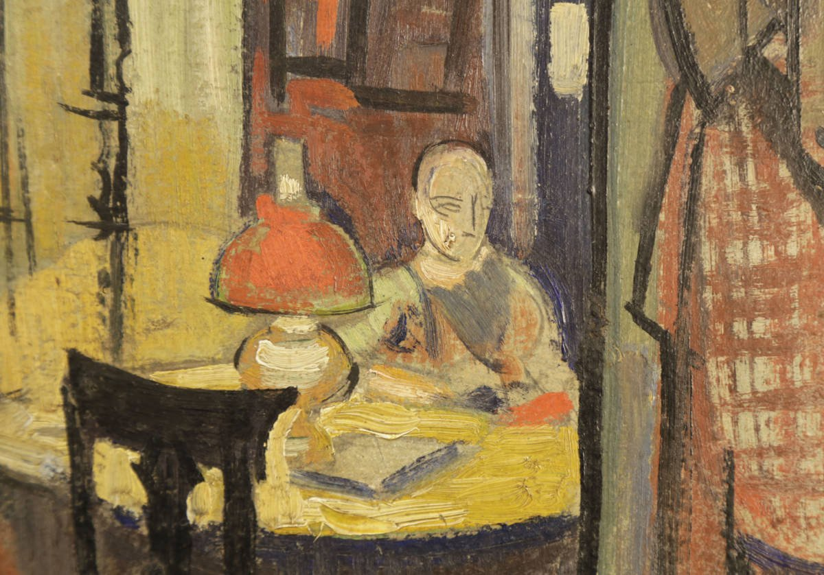 Interior Scene with Man Reading by William Sommer