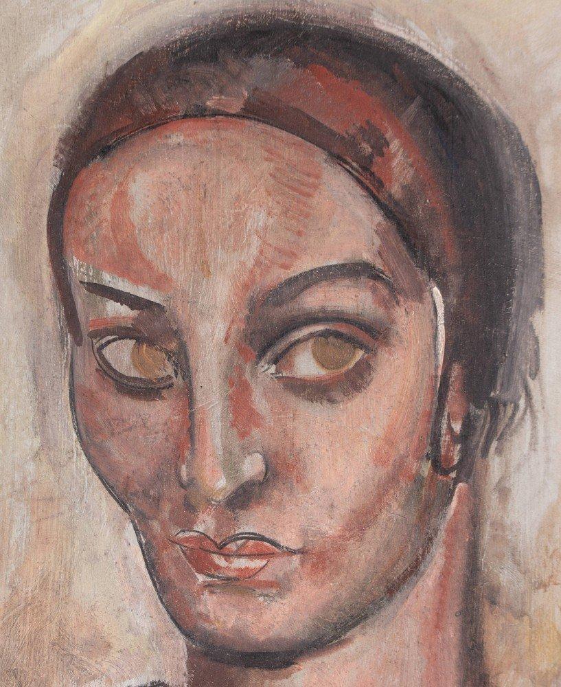 Figurative Oil on Wood Panel Painting: