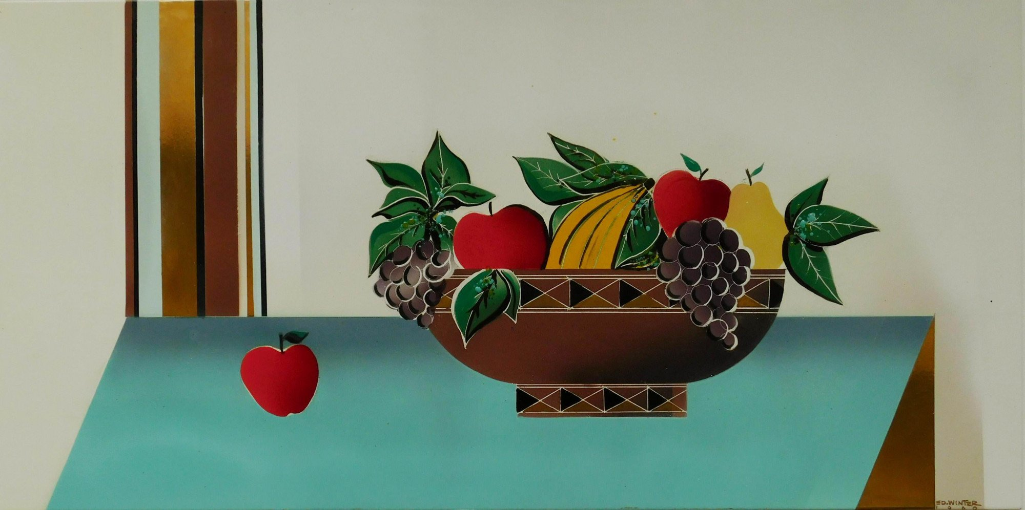 Still Life Vitreous Enamel on Metal Panel: