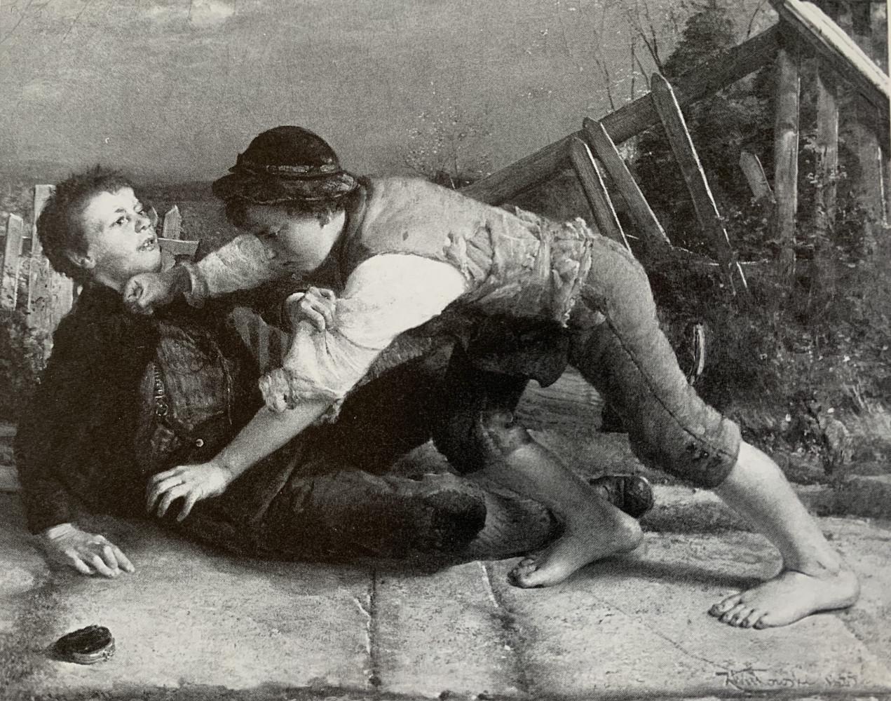 Children Fighting by Karol (Karl) D. Witkowski