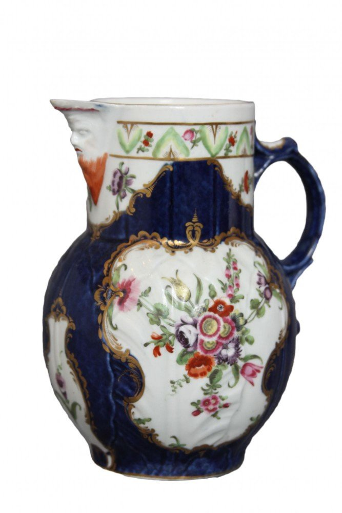 A Worcester Cabbage Leaf Mask Jug