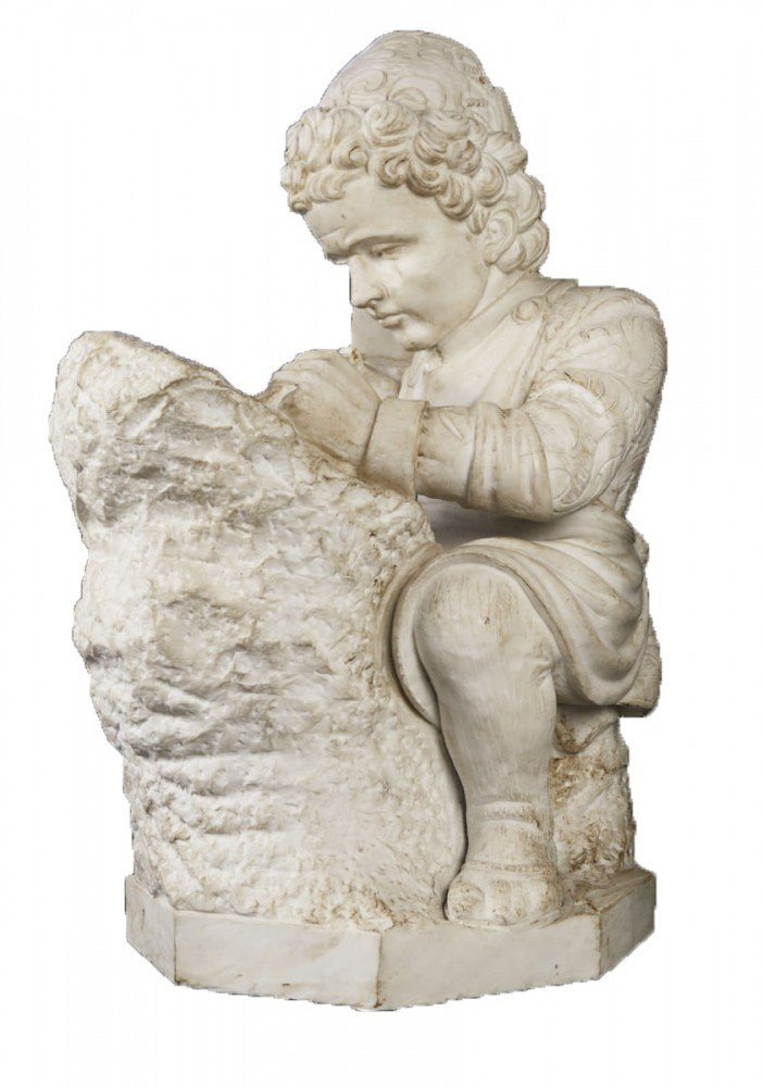 Young Michelangelo Sculpting, after Emilio Zocchi by Emilio Zocchi (After)