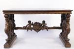 Walnut Decorative Arts: 19th Century Italian Renaissance Style Marble Top Library Table by 19th Century Italian School