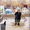Marija Zajac (American 20thc.) - Woman In a Babushka Sweeping Snow