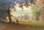 Hudson River Valley View with Cattle and Shepherds by Albert Bierstadt