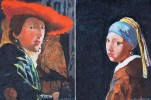 Pair of Portraits After Johannes Vermeer, Girl with a Pearl Earring and Girl with Red Hat  by William A. Van Duzer