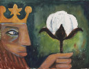 Figurative Gouache and Pastel on Cardboard Painting: King Cotton, Study for Cotton