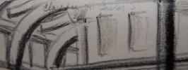 Landscape Conté Crayon on Paper Drawing: