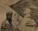 Figurative Conté Crayon on Paper Drawing: