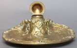 A Gilt Bronze Inkwell, Cast as an Ivy Covered Tree Stump by Charles Louchet