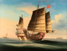 Chinese Export Painting of a Junk at Sea
