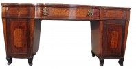 English Regency Inlaid Mahogany and Satin Wood Two Pedestal Sideboard