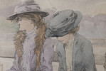 Two Women on a Paris Park Bench by Frank Nelson Wilcox