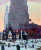 Landscape Oil on Canvas Painting: Memorials, Erie Street Cemetery, Downtown Cleveland by Adomeit