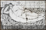 Figurative Indian Ink on Paper Drawing: