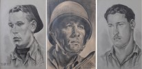 Milford Goldfarb (American 20thc.) Three Graphite Portraits