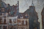 Landscape Oil on Board Painting: Latin Quarter, Paris painted by Grant Wood in 1920