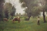 Cattle Grazing in a Spring Field by Janos Laszlo Aldor