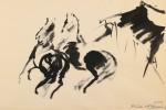 Horses, ink drawing by Joseph Benjamin O'Sickey