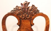 Portuguese Burl Walnut Colonial Rococo Style Side Chairs