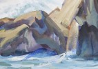 Landscape Watercolor and Gouache on Whatman Board Painting: